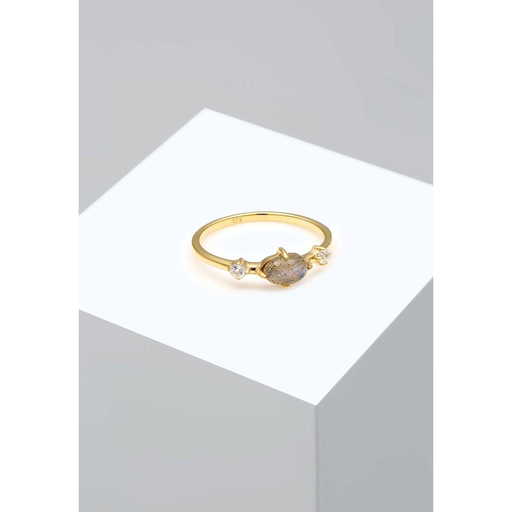 Elli Fingerring »Bandring Labradorit Topas Edelstein 375er Gelbgold«