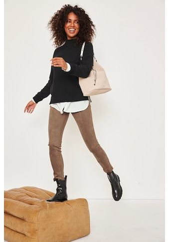 Tamaris Leggings, in Velourleder-Optik - NEUE KOLLEKTION kaufen