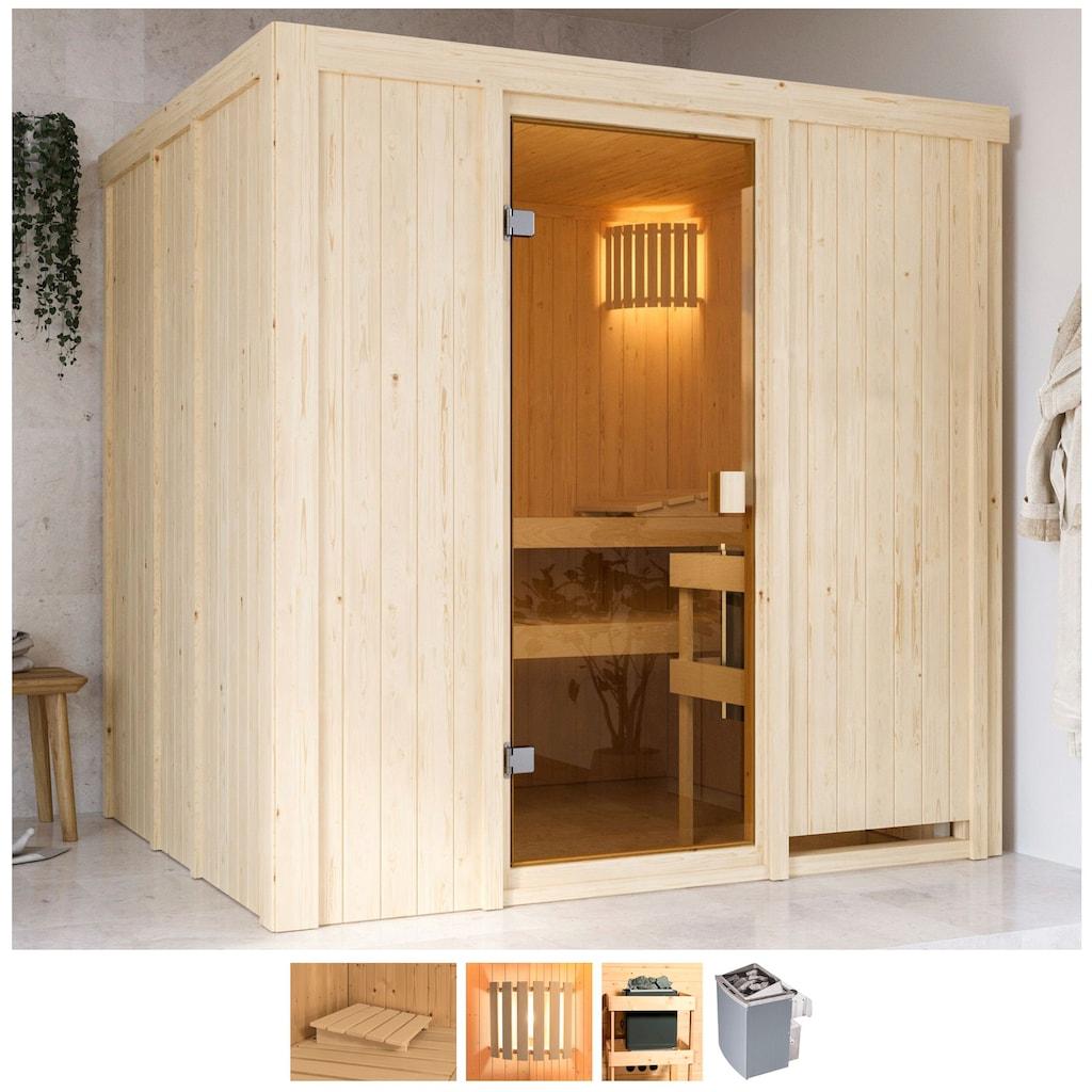 Karibu Sauna »Gelsa«, 4,5-kW-Ofen mit int. Steuerung