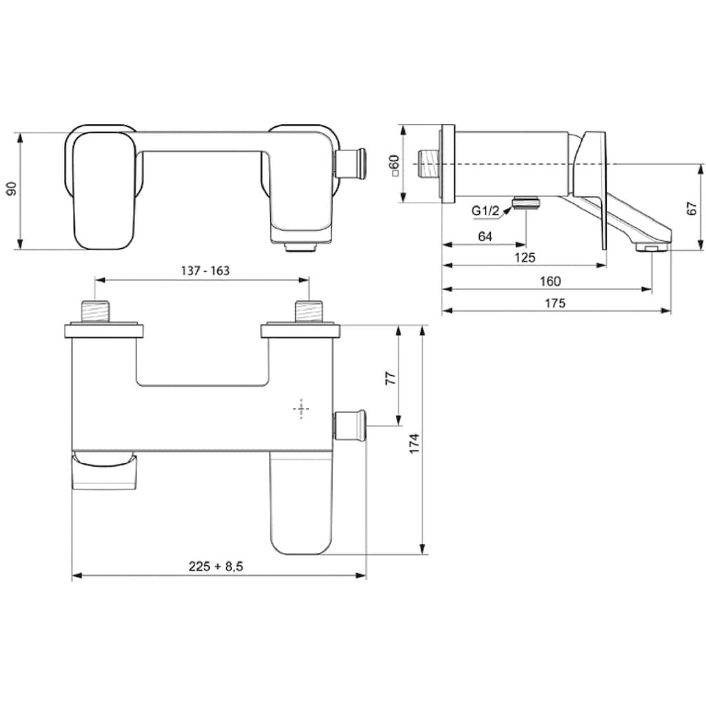 Ideal Standard Wannenarmatur »Tonic II«, Aufputz, verchromt