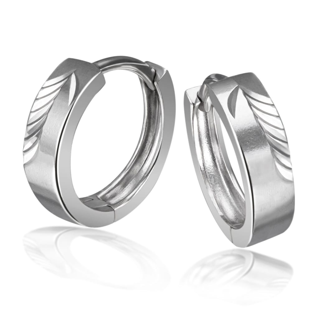 goldmaid Paar Creolen, 925/- Sterlingsilber diamantiert