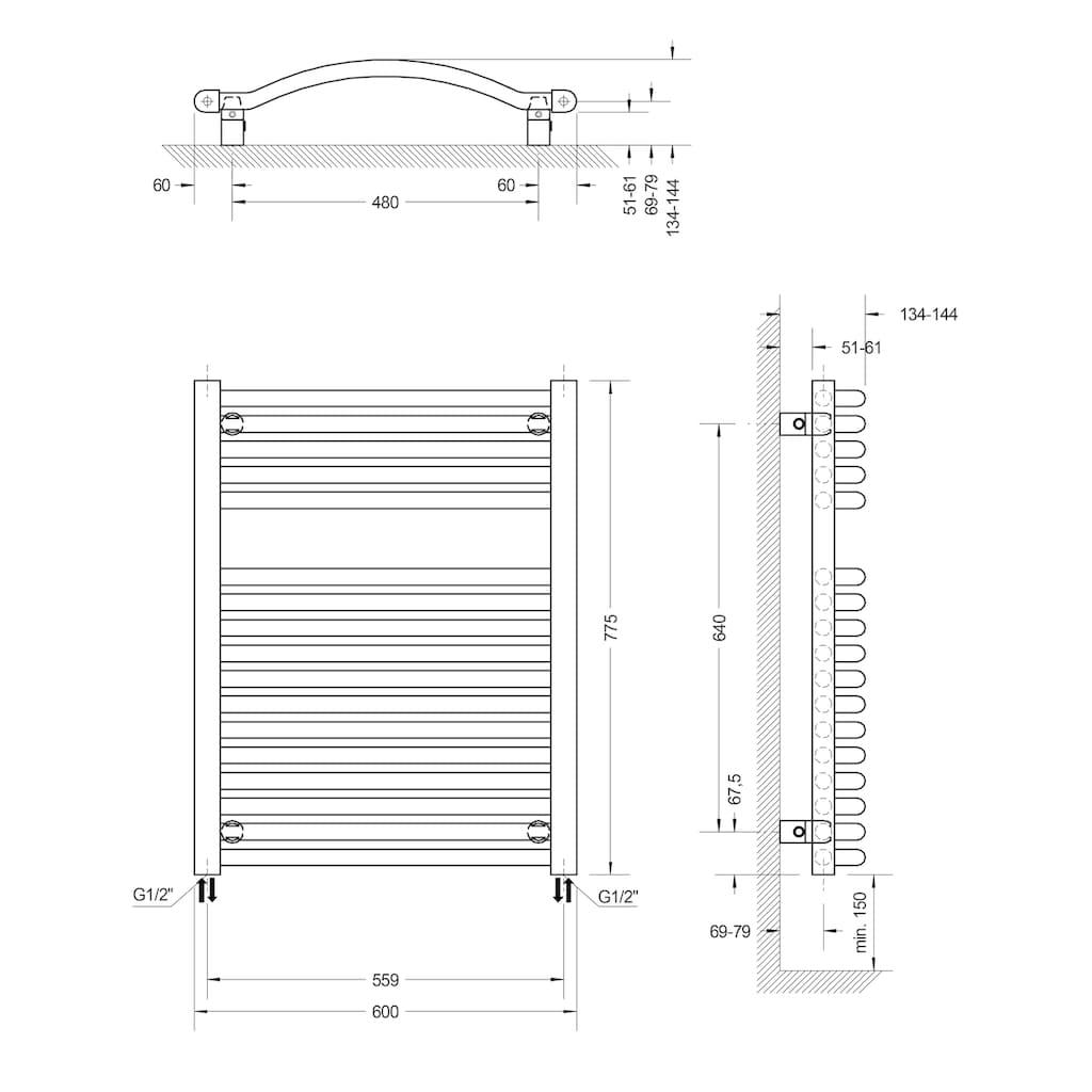 Schulte Badheizkörper »Olympia«, 77,5 x 60 cm