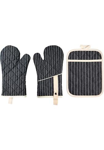 stuco Topfhandschuhe »gestreift«, (Set, 3 tlg., bestehend aus 2x Ofenhandschuh, 1x... kaufen