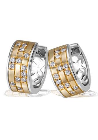 goldmaid Paar Creolen, 925/- Sterlingsilber 26 weiße Zirkonia kaufen
