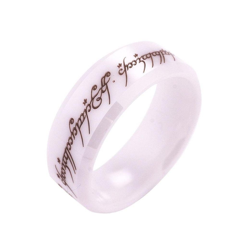Der Herr der Ringe Fingerring »Der Eine Ring - Keramik weiß, 20003816«, Made in Germany