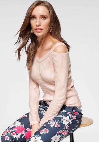 Laura Scott V-Ausschnitt-Pullover, mit extravaganter Schulterpartie kaufen