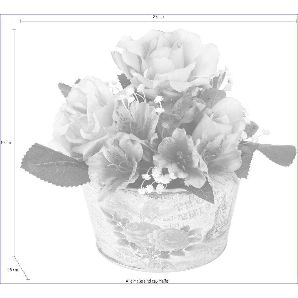 I.GE.A. Kunstpflanze »Gesteck Rosen in Zinktopf«