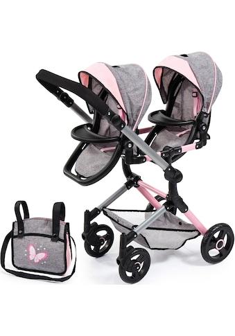 Bayer Puppen-Zwillingsbuggy »Twin Neo, grau«, mit Wickeltasche kaufen