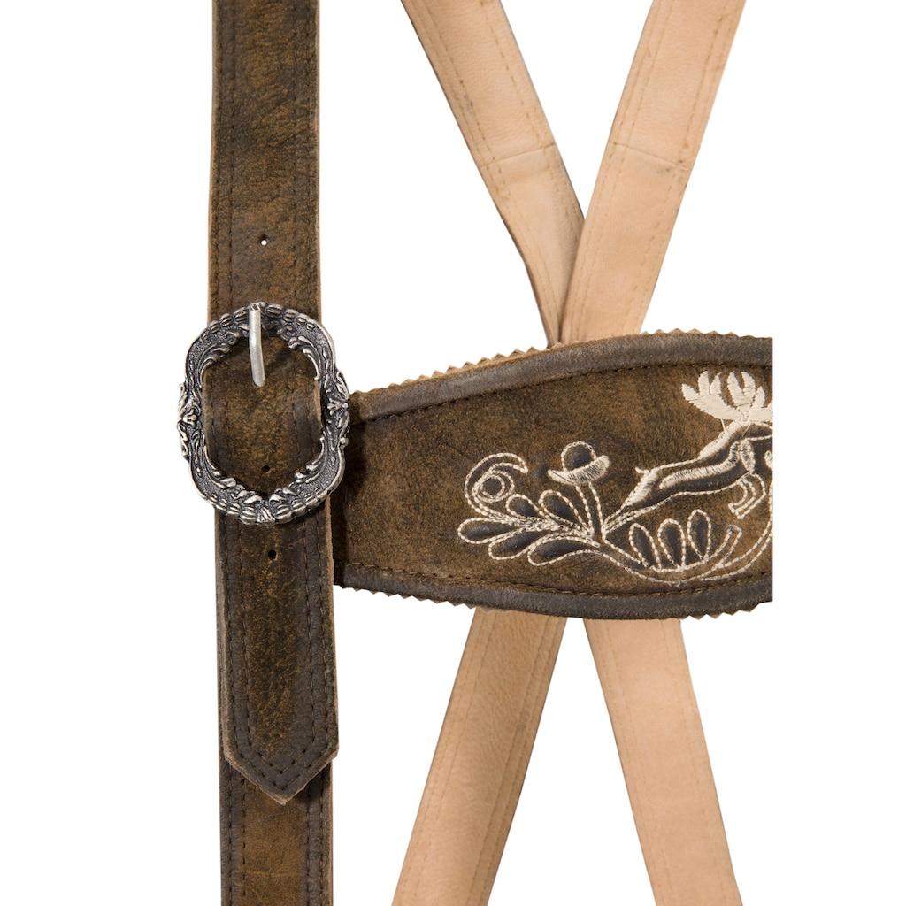 MarJo Trachtenlederhose, (2 tlg., mit abnehmbarem Gürtel), im urigen Look und Stickereien