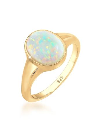 Elli Fingerring »Siegelring Mondstein Oval 925 Silber vergoldet« kaufen