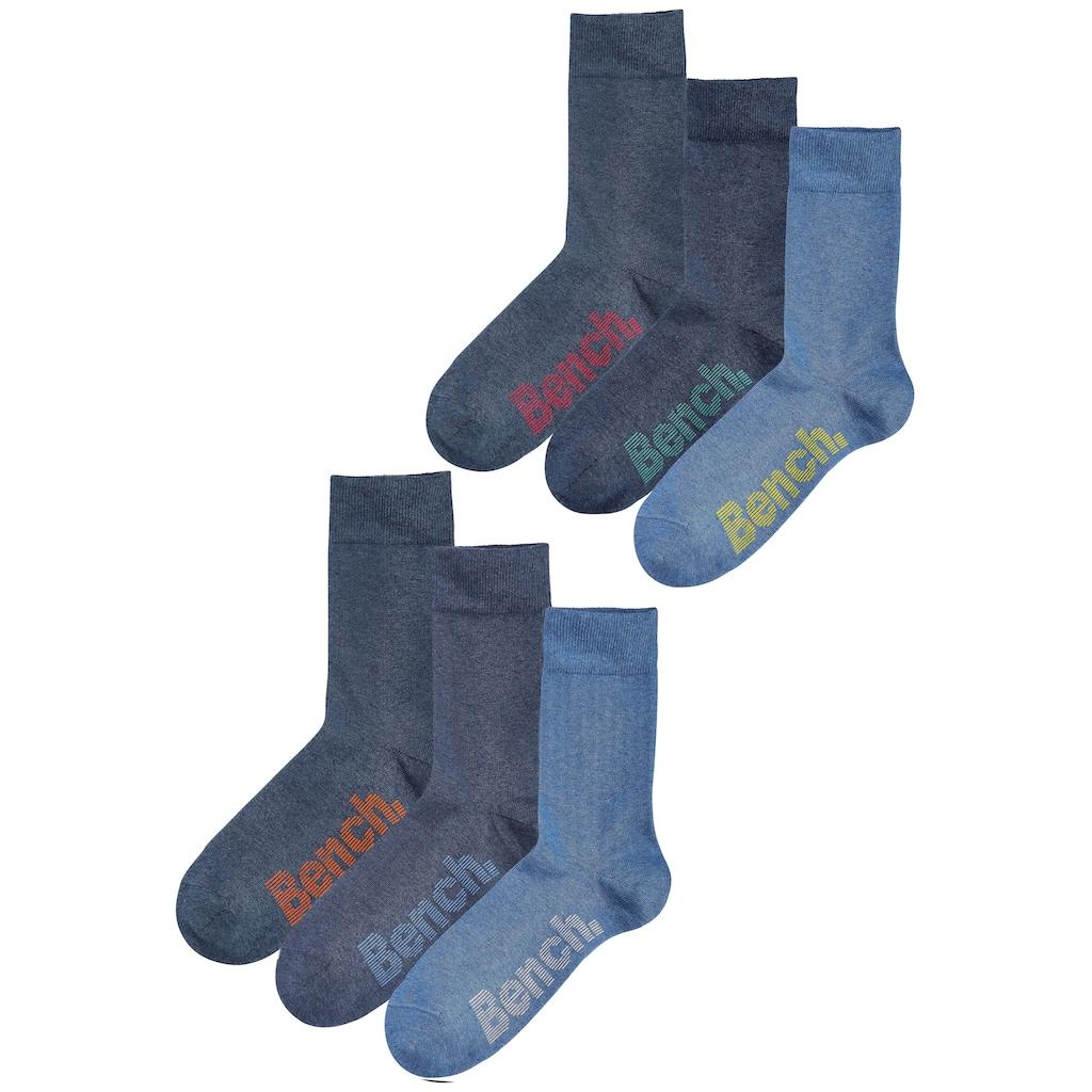 Bench. Socken, (Box, 6 Paar), mit verschiedenfarbigen Logos