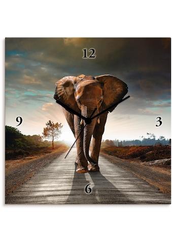 Artland Wanduhr »Ein Elefant läuft auf der Straße«, lautlos, ohne Tickgeräusche, nicht... kaufen