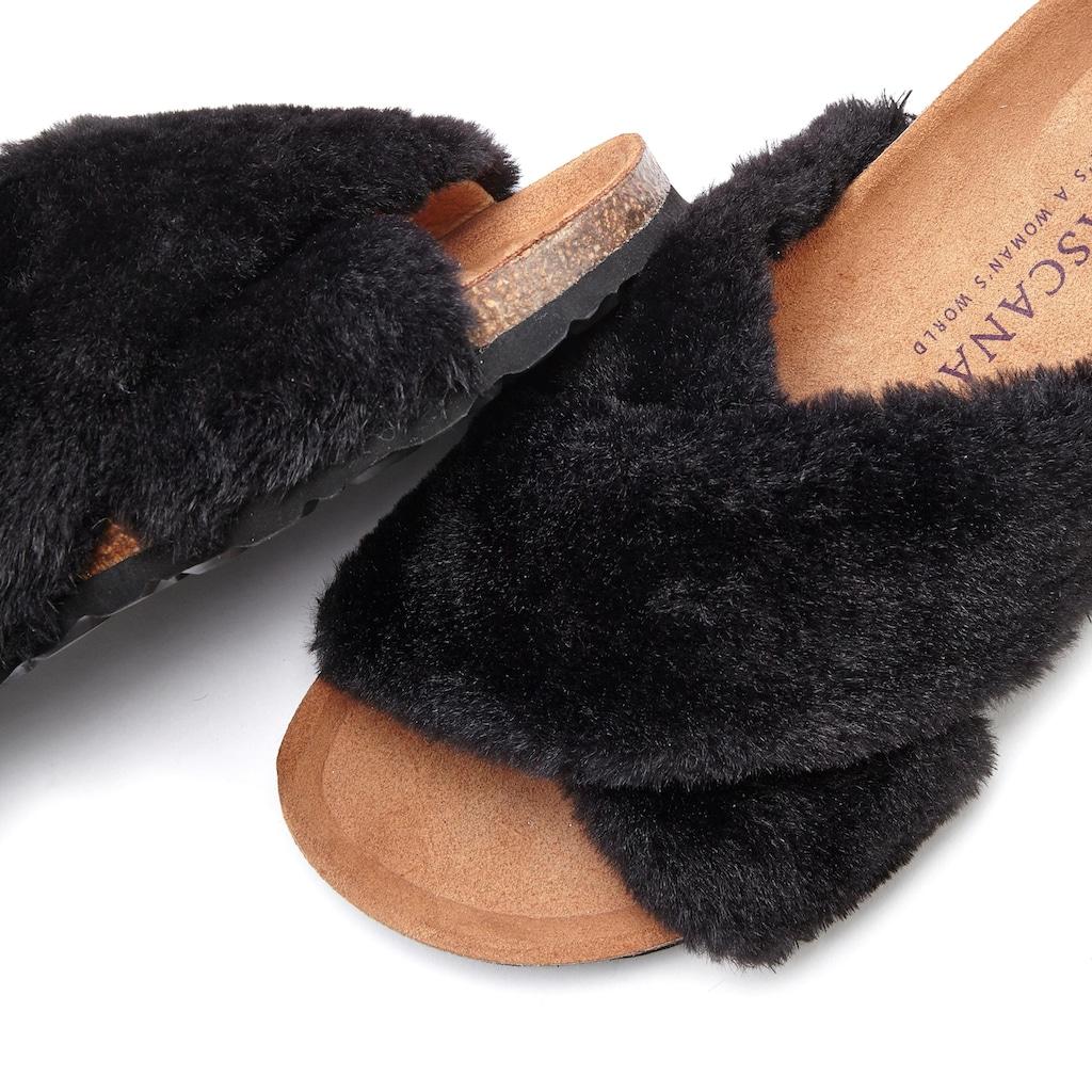LASCANA Pantolette, Hausschuh mit bequemen Korkfußbett und kuscheligem Fellimitat
