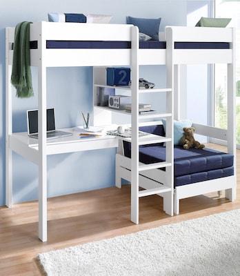Funktions-Hochbett mit Sitzgelegenheit und Schreibtisch