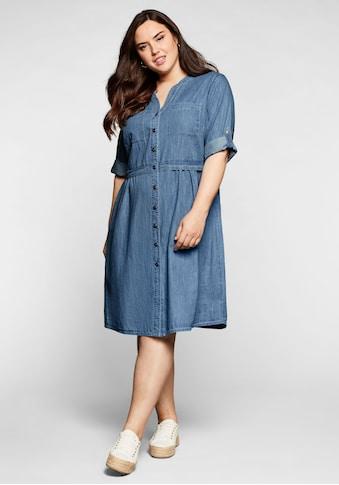 Sheego Jeanskleid, mit Knopfleiste und hoher Taille kaufen