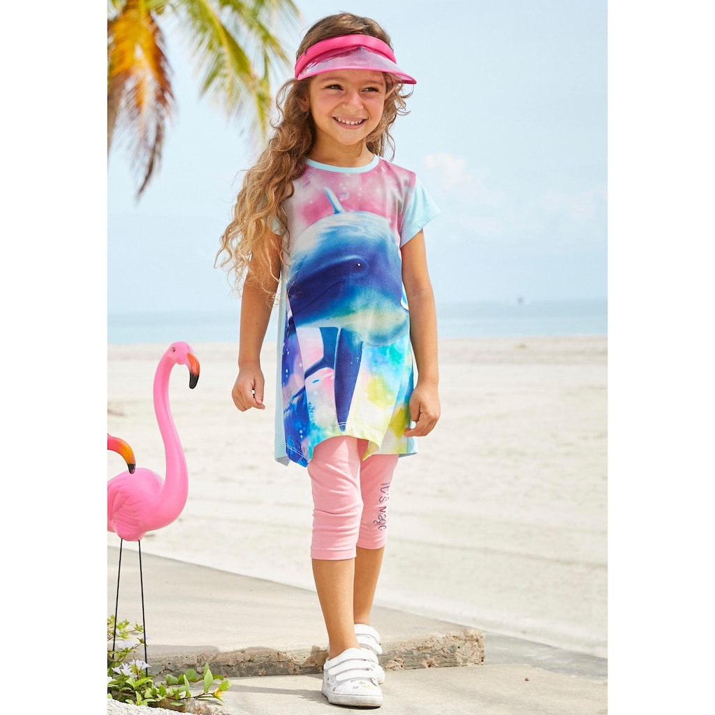 KIDSWORLD Shirt & Leggings, mit Delfin-Fotomotiv