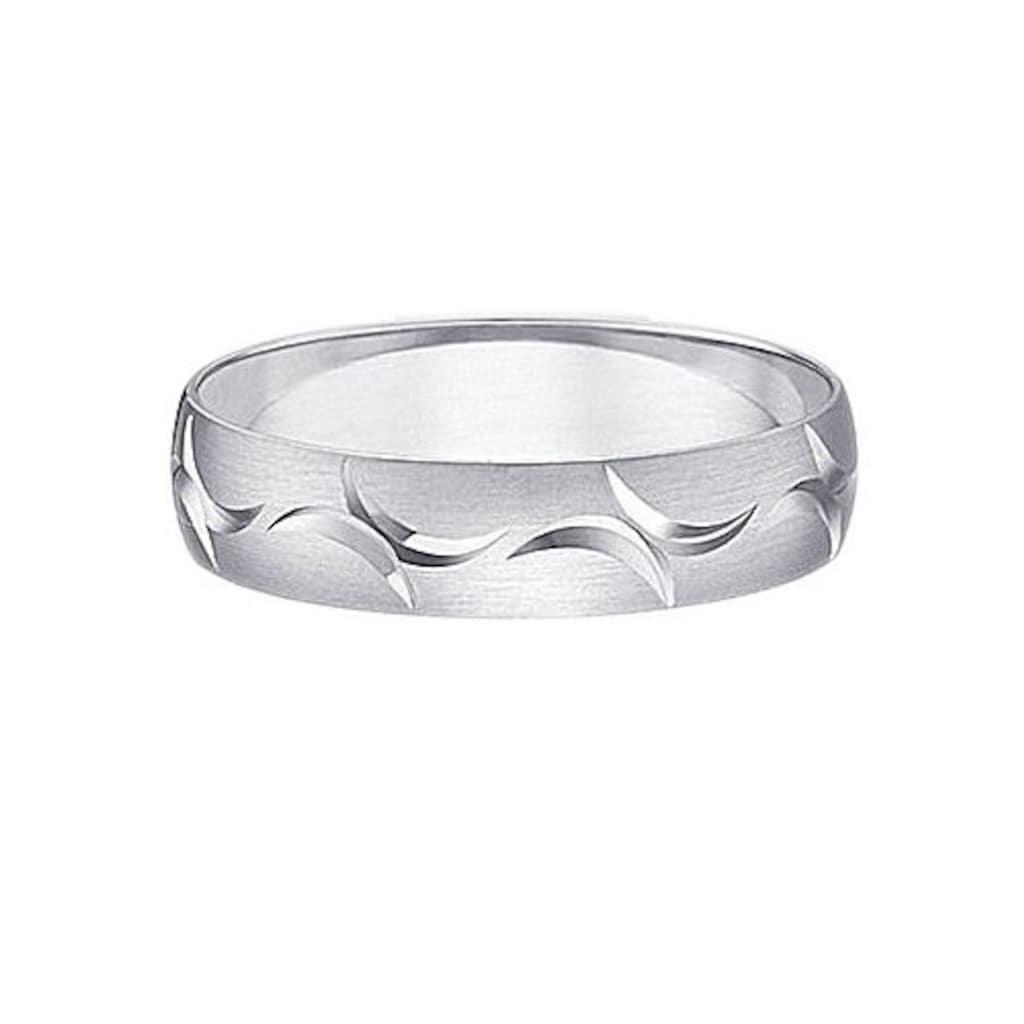 Firetti Trauring mit Gravur »längs gebürstet, Diamantschnitt, 5,0 mm breit«, Made in Germany, wahlweise mit oder ohne Brillant