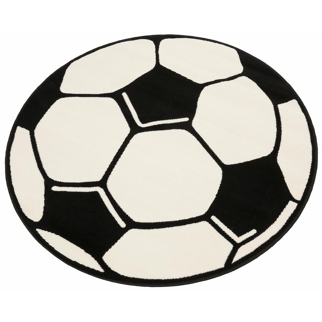 HANSE Home Kinderteppich »Fußball«, rund, 10 mm Höhe, Fußball Spielteppich für jede Gelegenheit