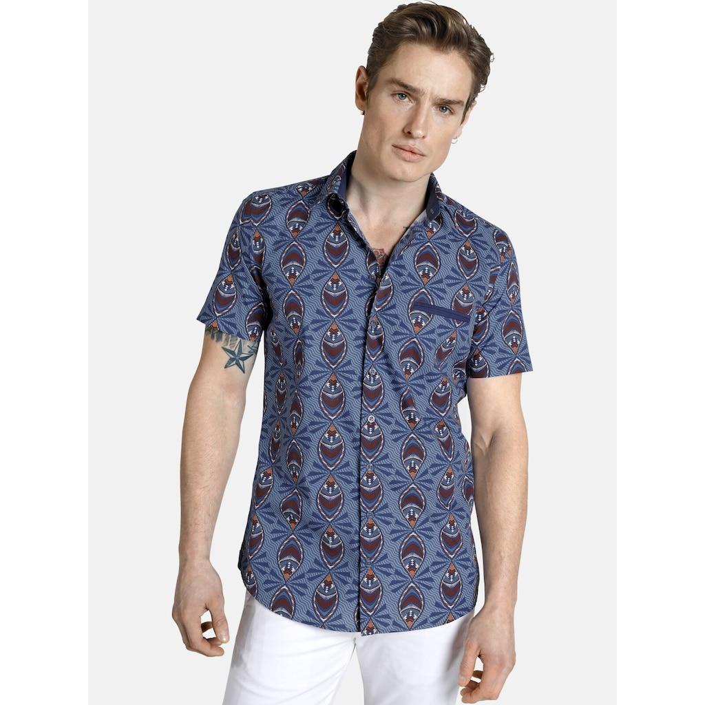 SHIRTMASTER Kurzarmhemd »peacock«, mit Ethnodruck