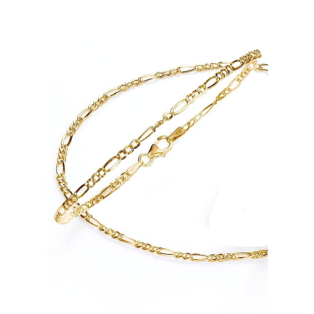 Firetti Schmuckset »Kette und Armband in Figarokettengliederung, 2-fach diamantiert, poliert«
