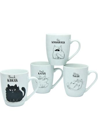 CreaTable Becher »Schmusekatzen«, (4 tlg.), Porzellan, Katzenmotive kaufen