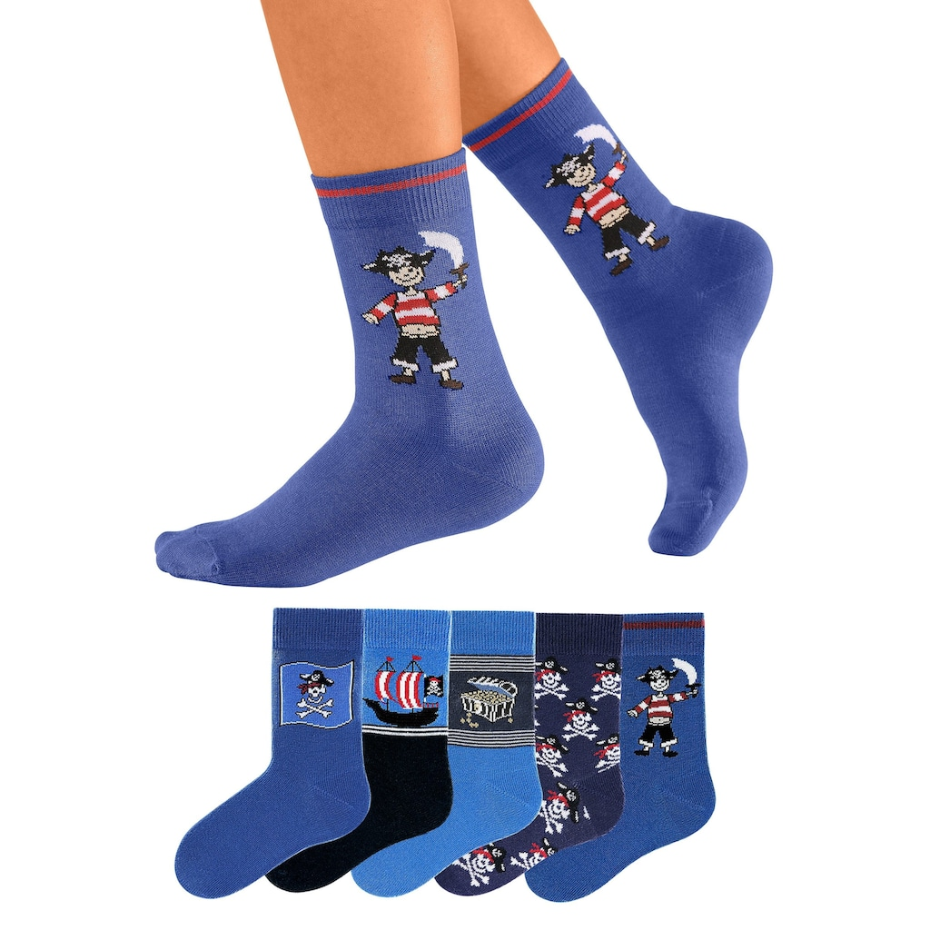 Go in Socken, (5 Paar), mit Piratenmotiven