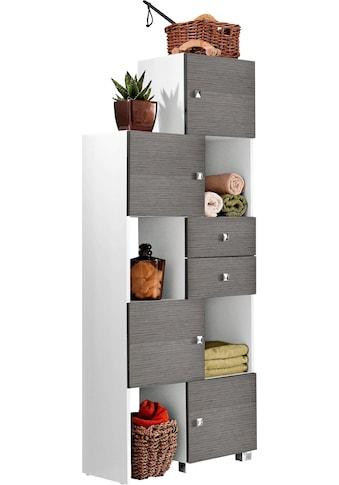 Schildmeyer Schieberegal »Bozen«, Breite 38-68 cm, Badregal, 4 Türen & 2 Schubladen kaufen