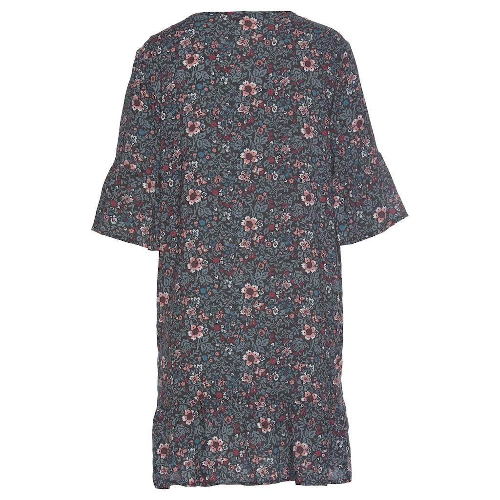 s.Oliver Nachthemd, im Allover-Muster mit Rüschensäumen