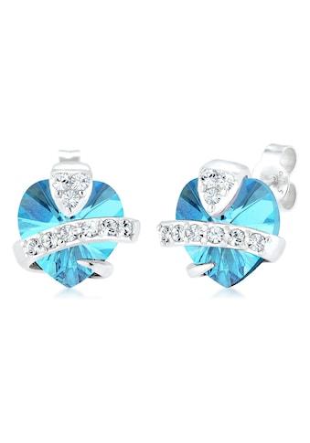 Elli Paar Ohrstecker »Herz Liebe Swarovski® Kristalle Cute 925 Silber« kaufen