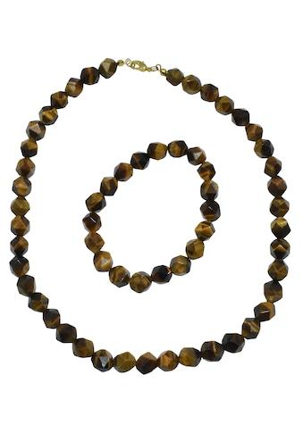 Firetti Ketten und Armband Set »Eckige Steine, 10 mm breit, vergoldet«, mit Tigerauge,... kaufen