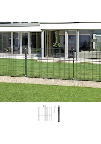 GAH Alberts Doppelstabmattenzaun, 80 cm hoch, 5 Matten für 10 m, 6 Pfosten kaufen