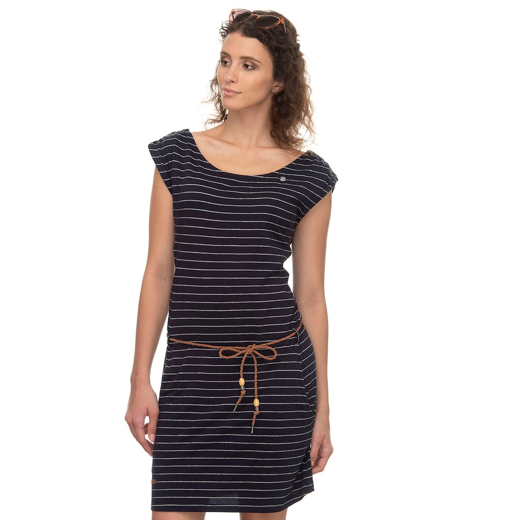 Ragwear Shirtkleid »CHEGO«, (2 tlg., mit Bindegürtel), im maritimen Streifen-Design