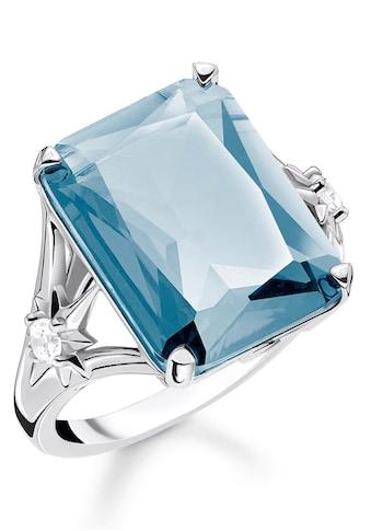 THOMAS SABO Silberring »Stein blau groß mit Stern, TR2261-644-31-52, 54, 56, 58, 60«, mit synth. Spinell und Zirkonia kaufen