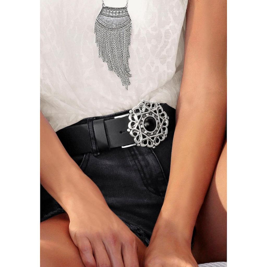 LASCANA Ledergürtel, Hüftgürtel aus Leder mit großer Zierschnalle