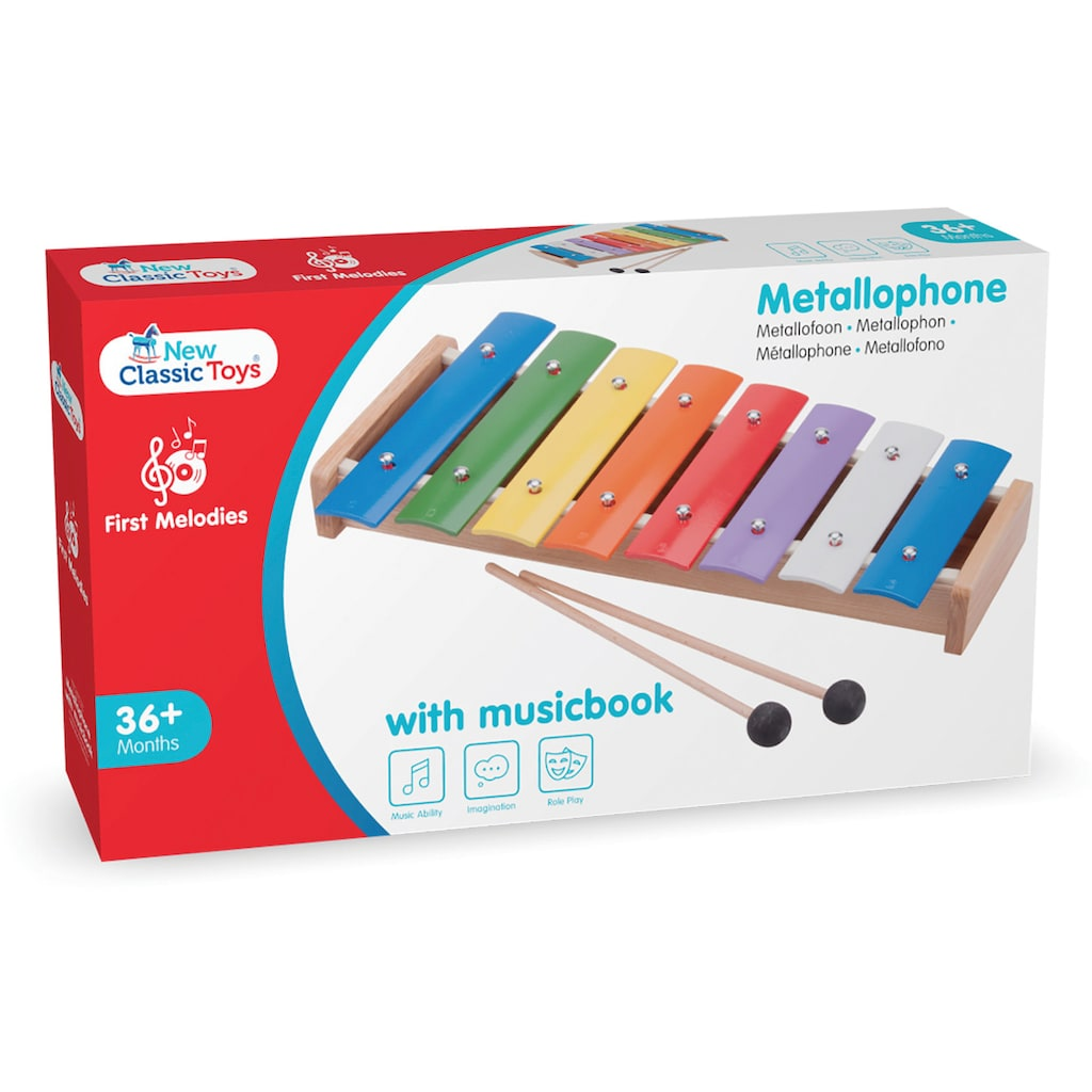 New Classic Toys® Spielzeug-Musikinstrument »First Melodies - Metallophon«, mit Musikbuch; Made in Europe