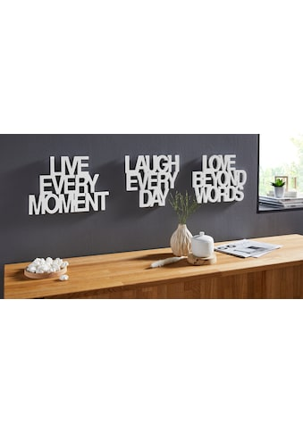 andas Wanddekoobjekt »Live every Moment  -  Love beyond Words  -  Laugh every Day« (3 Stück) kaufen