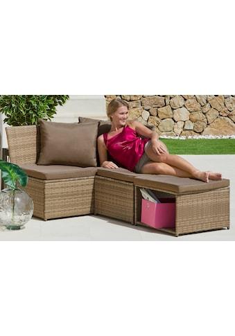 KONIFERA Loungeset »Marseille«, (8 tlg.), Sofa, Tisch 57x57 cm, Hocker, Polyrattan kaufen