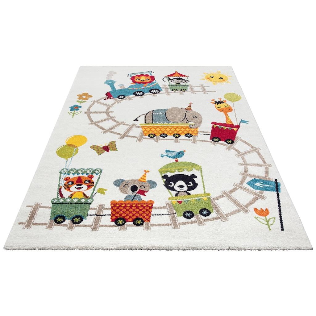 Lüttenhütt Kinderteppich »Zoo-Zug«, rechteckig, 13 mm Höhe, Spielteppich