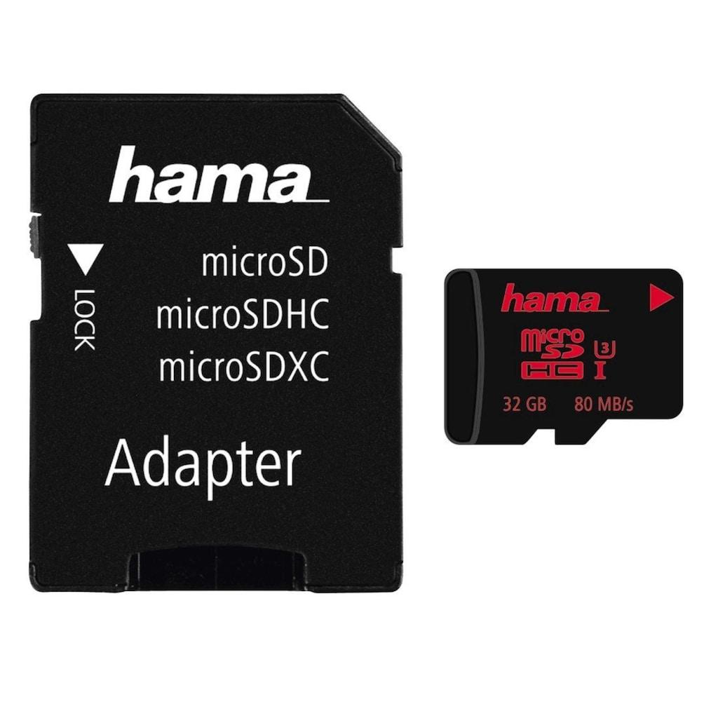 Hama microSDHC 32 GB UHS Speed Class 3 UHS-I 80MB/s + Adapter