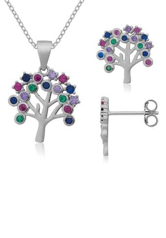 Firetti Ohrring und Ketten Set »strahlender Baum, massiv und rhodiniert«, mit... kaufen