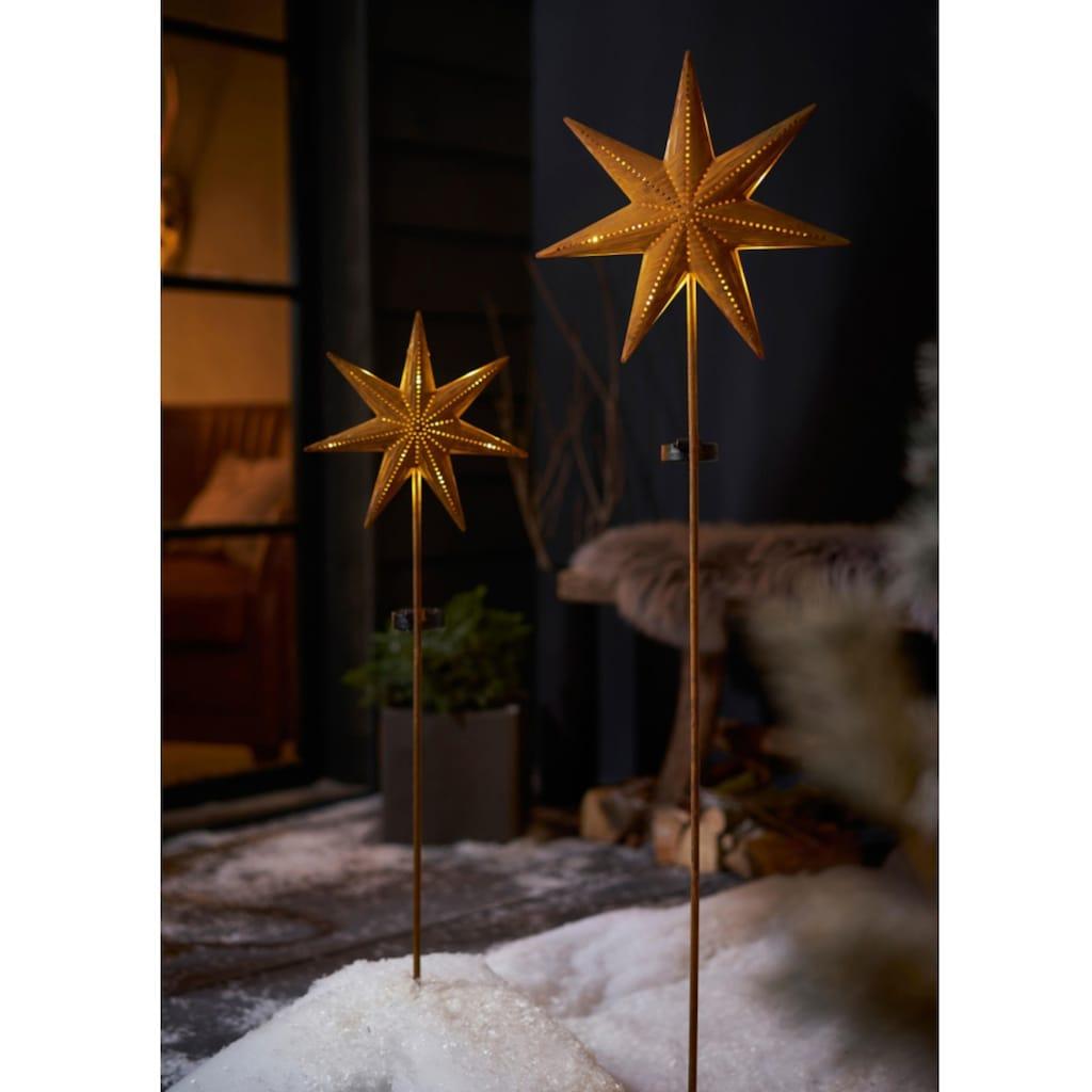 Gartenleuchte »Solarstecker-Set Star«, Warmweiß, aus Metall, Höhe 116 + 120 cm