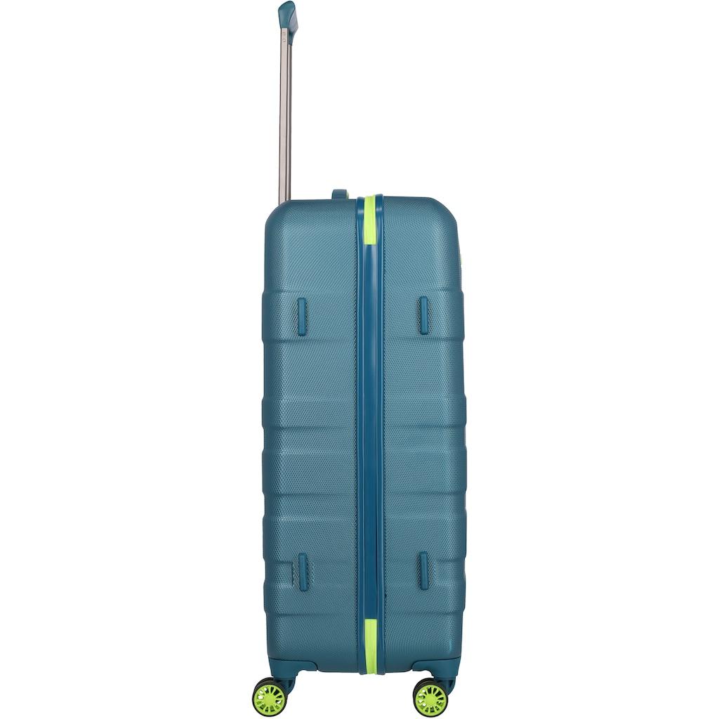 travelite Hartschalen-Trolley »Vector, 77 cm, Petrol/Limone«, 4 Rollen