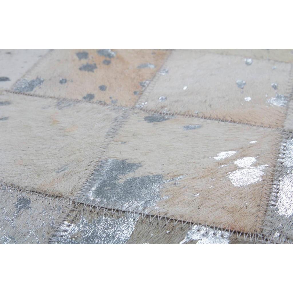 Kayoom Lederteppich »Lavish 210«, rechteckig, 8 mm Höhe, Patchwork-echtes Leder-Fell, Wohnzimmer