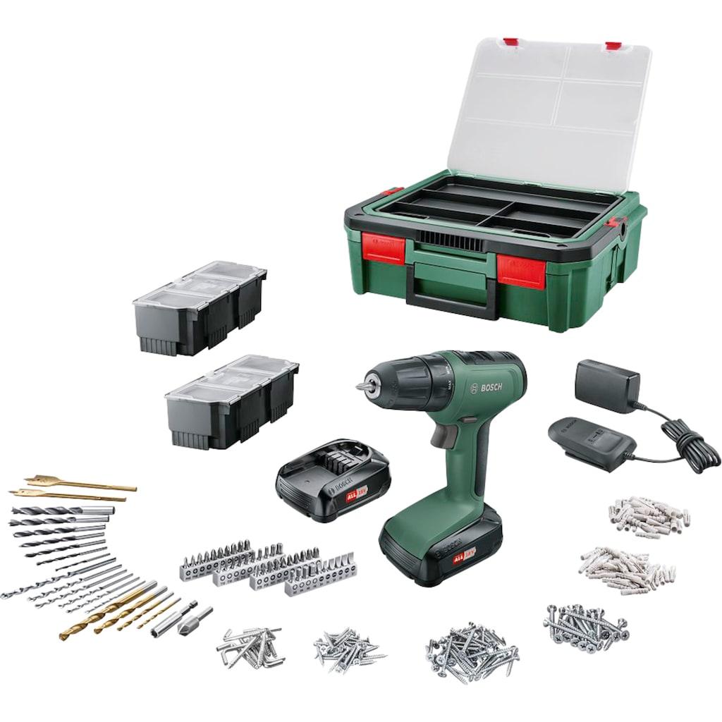 BOSCH Akku-Bohrschrauber »UniversalDrill 18«, (Set), inkl. Akku, Ladegerät & Systembox mit 241-tlg. Zubehör