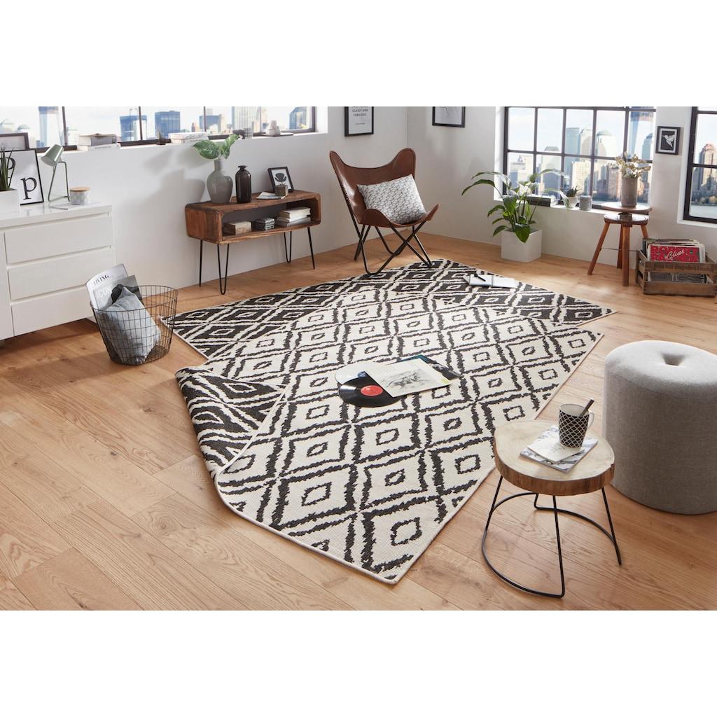 bougari Teppich »Rio«, rechteckig, 5 mm Höhe, Wendeteppich, Rauten Design, In- und Outdoor geeignet, Wohnzimmer