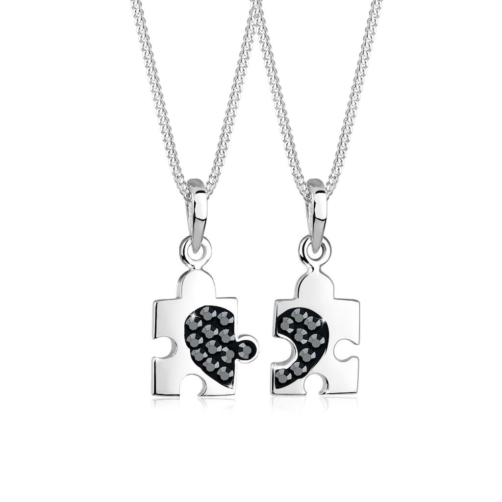 Elli Ketten-Set »Set Partner Puzzle Kristalle 925 Silber«