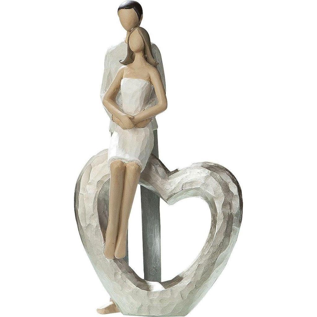 GILDE Dekofigur »Skulptur Liebespaar - Herz«, Dekoobjekt, Höhe 23 cm, handbemalt, mit Herz, romantisch, Wohnzimmer
