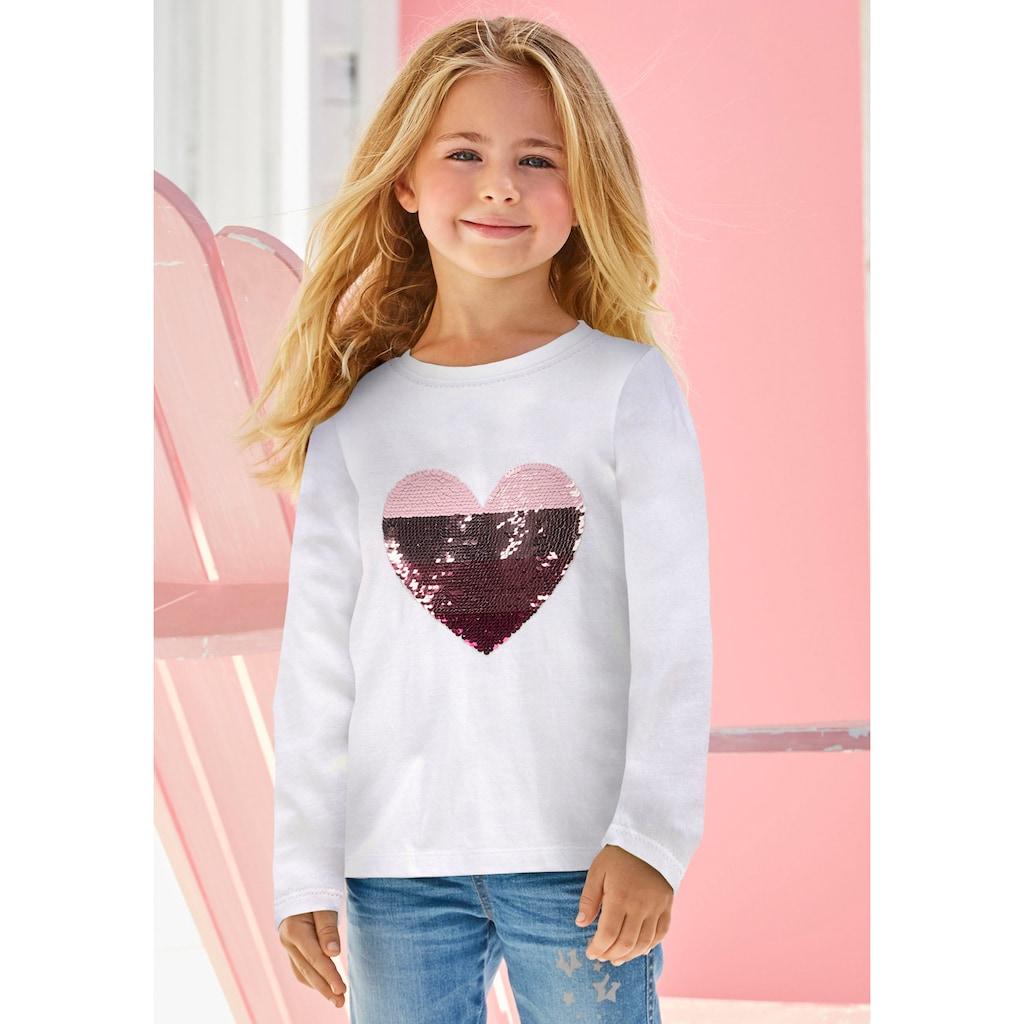 Arizona Paillettenshirt »Herz«, mit Paillettenherz zum Wenden