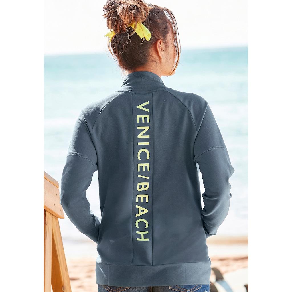 Venice Beach Sweatjacke, mit Logoprint am Rücken