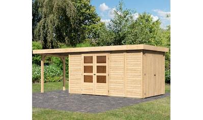 WOODFEELING Set: Gartenhaus »Retola 5«, BxT: 629x238 cm, mit Anbauschrank und Anbaudach kaufen